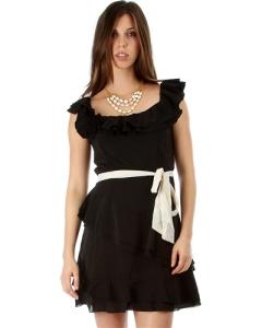BLACK CHIFFON RUFFLE DRESS WITH WAIST TIE
