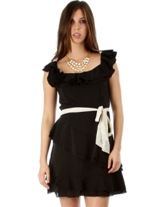 BLACK CHIFFON RUFFLE DRESS WITH WAIST TIE