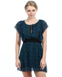 BLUE LEOPARD CHIFFON DRESS
