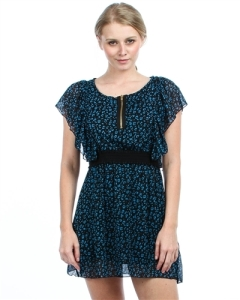BLUE LEOPARD CHIFFON DRESS