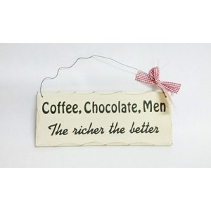 COFFEE CHOCOLATE MEN WOODEN SIGN