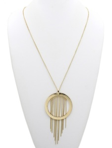 LARGE METAL RING CHAIN FRINGE PENDANT NECKLACE