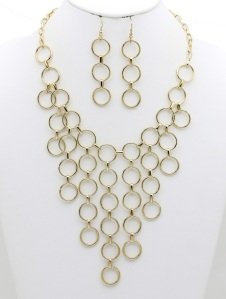 LAYERED METAL LINK BIB NECKLACE AND EARRING SET 2