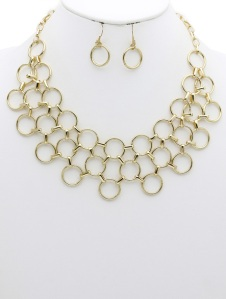 LAYERED METAL LINK BIB NECKLACE AND EARRING SET
