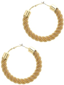 TWISTED MESH CHAIN METAL HOOP EARRING